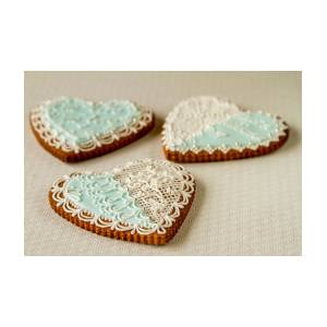 Gingerbread Hearts On White By Alexander Parusov