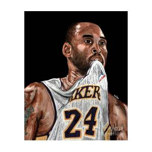 Kobe Bryant Biting Jersey Painting by Israel Torres