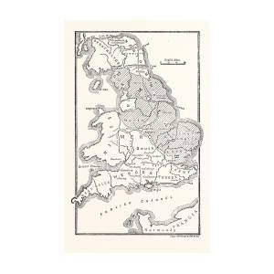 Map Of England Drawing.Map Of England Showing The Anglo Saxon Kingdoms And Danish By English School