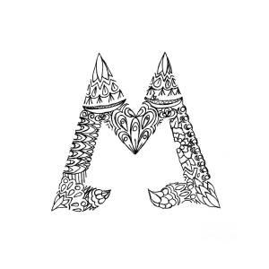 Patterned Letter M Drawing By Alyssa Zeldenrust