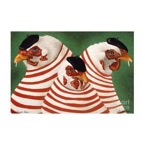 Three French Hens Painting By Will Bullas