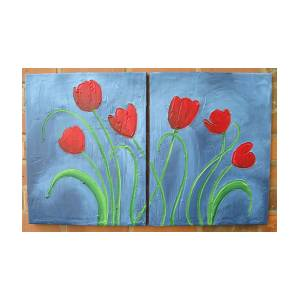 triptych tulip flower painting original floral wall art acrylic
