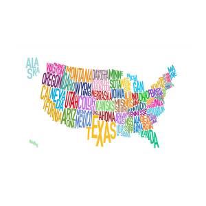 United States Text Map Digital Art By Michael Tompsett
