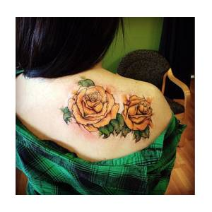 Watercolor Yellow Roses Tattoo Mixed Media By Cynthia Hart