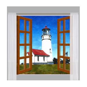 Window View of Cape Blanco Lighthouse Oregon Painting by Elaine Plesser