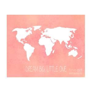 Mecca On A World Map.World Map In Pink Photograph By Jennifer Mecca