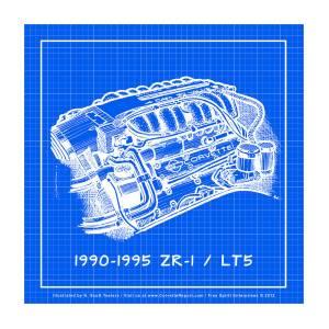 1990-1995 C4 Zr-1 Lt5 Corvette Engine Reverse Blueprint