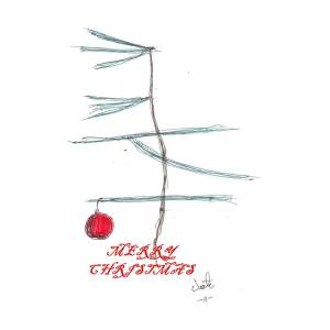 Charlie Brown Christmas Tree Drawing.Charlie Brown Christmas Card Drawing By Victor Sexton