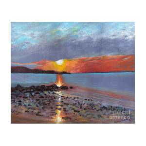 Winter Sunset Centre Island Beach Painting By Susan Herbst