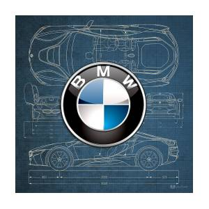 B M W 3 D Badge Over B M W I8 Blueprint Photograph By Serge Averbukh