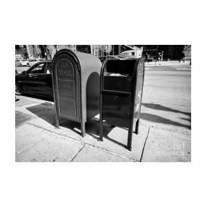 us postal service blue mailbox dropbox and grey relay mail box on sidewalk  Boston USA