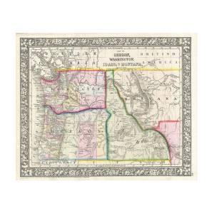 1866 Mitchell Map Of Washington Oregon Idaho And Montana Photograph