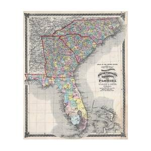 Map Of Florida Georgia South Carolina.1874 Beers Map Of Florida Georgia North Carolina And South Carolina By Paul Fearn