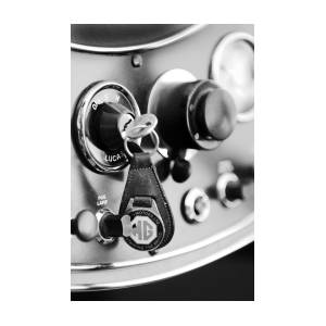 1948 MG TC Key Ring black and white Photograph by Jill Reger