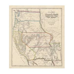 Antique Map Of The Western United States By John Disturnell - 1853