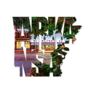 Bentonville Arkansas State Shape Series Typography A Night On The Bentonville Square Photograph By Gregory Ballos