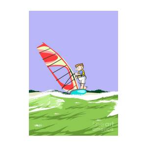 Boy Doing Windsurfing On A Light Blue Windsurf Board With A Red Sail by  Daniel Ghioldi