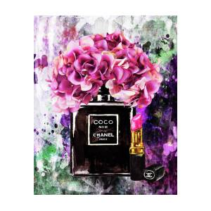 Chanel perfume with pink flowers painting by del art chanel perfume with pink flowers by del art mightylinksfo
