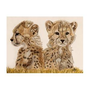 fe8aadd7cb1 Cheetah Cubs Watercolor Painting by Angeles M Pomata
