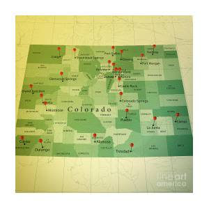 Colorado Map Square Cities Straight Pin Vintage