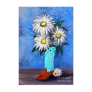 Cowgirl Boot Flower Vase by Pechez Sepehri  sc 1 st  Fine Art America & Cowgirl Boot Flower Vase Painting by Pechez Sepehri