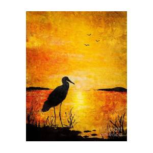 egret silhouette painting by anne sands
