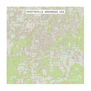 Fayetteville Arkansas Us City Street Map Digital Art by Frank Ramspott