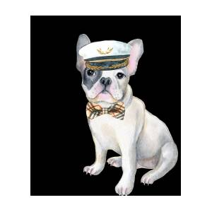 ef58986516d8e Frenchie French Bulldog Plaid Bow Tie Captains Hat Dogs In Clothes by  Trisha Vroom
