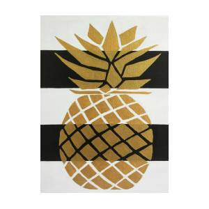 Gold Pineapple On Black And White Striped Background Painting By Melinda Baynes