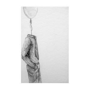 Pencil Sketch Balloon Seller Drawing