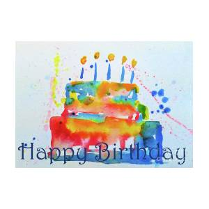 Surprising Happy Birthday Blue Cake Painting By Claire Bull Funny Birthday Cards Online Hendilapandamsfinfo