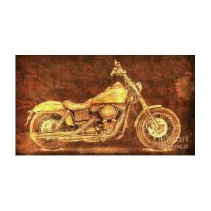 Harley Davidson Golden Motorcycle, Gift For Men, Pub Decoration By  Drawspots Illustrations