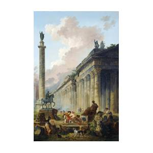 IMAGINARY VIEW OF ROME WITH EQUESTRIAN by Hubert Robert A4//A3