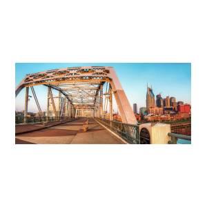 John Seigenthaler Pedestrian Bridge And Nashville Skyline