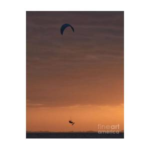 Kite Surfing Sunrise Silhouette Vertical by Anna Gibson