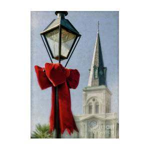 Lamppost Bow And Cathedral New Orleans By Kathleen K Parker