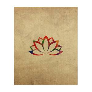 Lotus Flower Buddhist Symbol In Watercolor Mixed Media By Design