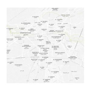 Minimalist Modern Map Of Downtown Damascus, Syria 2 Painting by ...