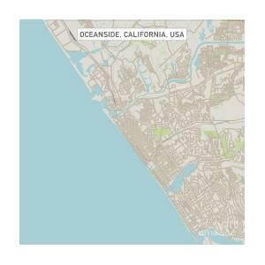 Oceanside California Us City Street Map by Frank Ramspott