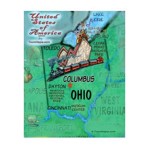 Ohio Fun Map Digital Art By Kevin Middleton