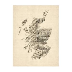 Old Sheet Music Map Of Scotland by Michael Tompsett