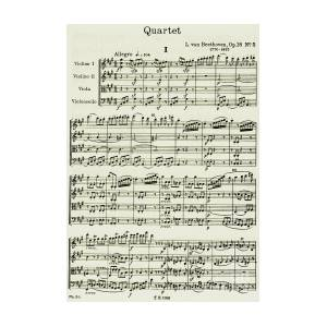 Opening Page Of Score For String Quartet Number 5 In A Major by Ludwig van  Beethoven