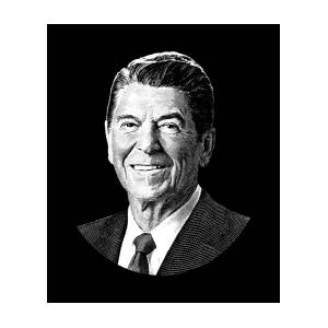 President Ronald Reagan Graphic Black And White Digital Art By War