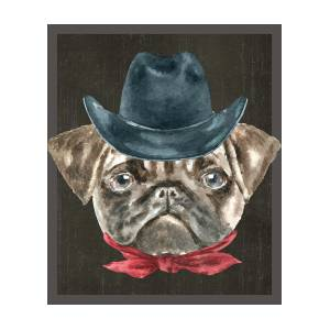 eebcca8496f Pug Cowboy Hat Red Collar Dogs In Clothes Digital Art by Trisha Vroom