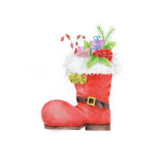 Red Santa S Boot Boots Drawing By Acharaporn Kamornboonyarush