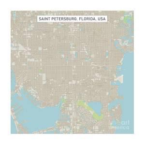 Map Of St Petersburg Florida.Saint Petersburg Florida Us City Street Map Digital Art By Frank