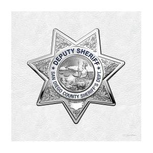 San Diego County Sheriff's Department - S D S O Deputy Sheriff Badge Over  White Leather