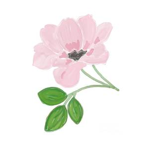 Single Pink Flower Painting By Priscilla Wolfe