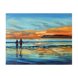 0776bbe460 Sunset On Coronado Beach With Figures Painting by Robert Gerdes