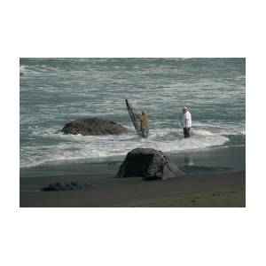 surf fisherman     mouth of Klamath River Photograph by JoAn Yost